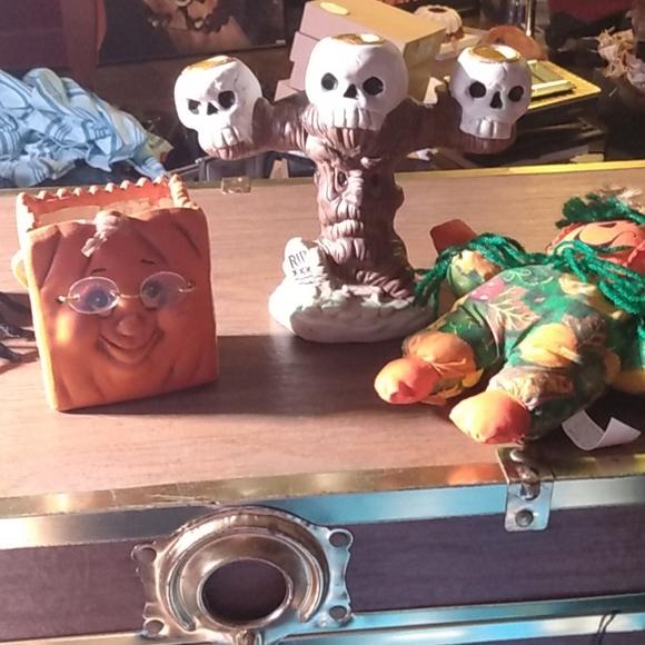 Porcelain Halloween candelabra and decor
